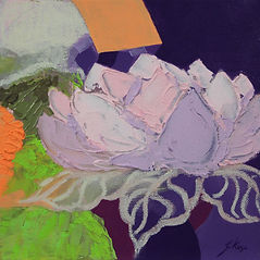 contemporary flower paintin with colors and texture