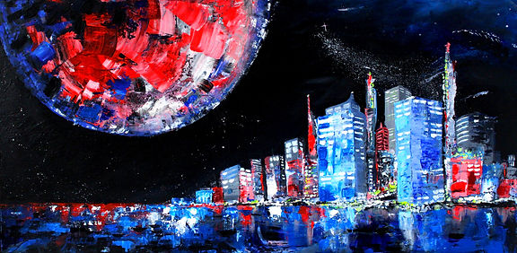 Contemporary abstracted blue and red cityscape with planet