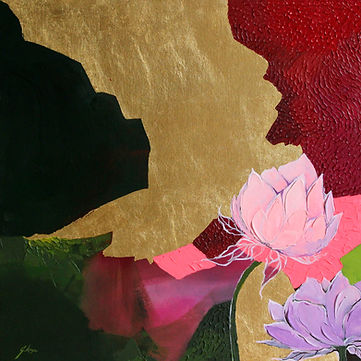 contemporary flower painting wth texture ad gold leaf