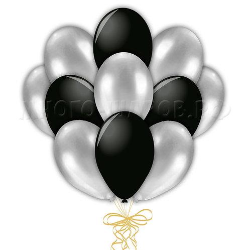 Связка черных и серебряных шаров