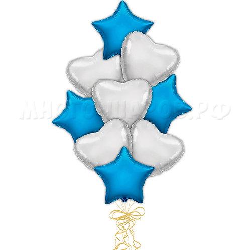 """Связка """"Синие звезды и серебрянные сердца"""""""