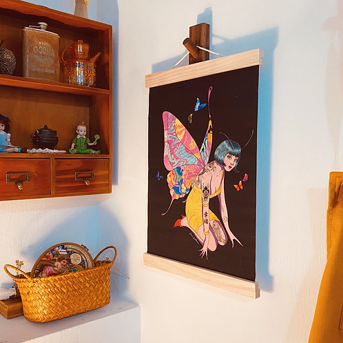 Happiness is a butterfly Fabric Print