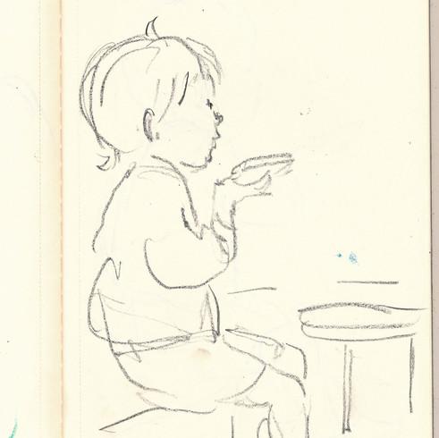 sketch in cafe