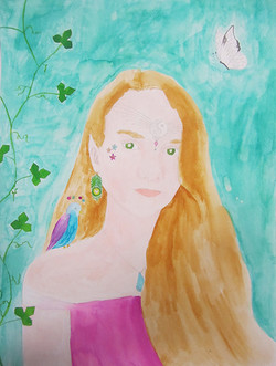 Märchenporträt, Tinte