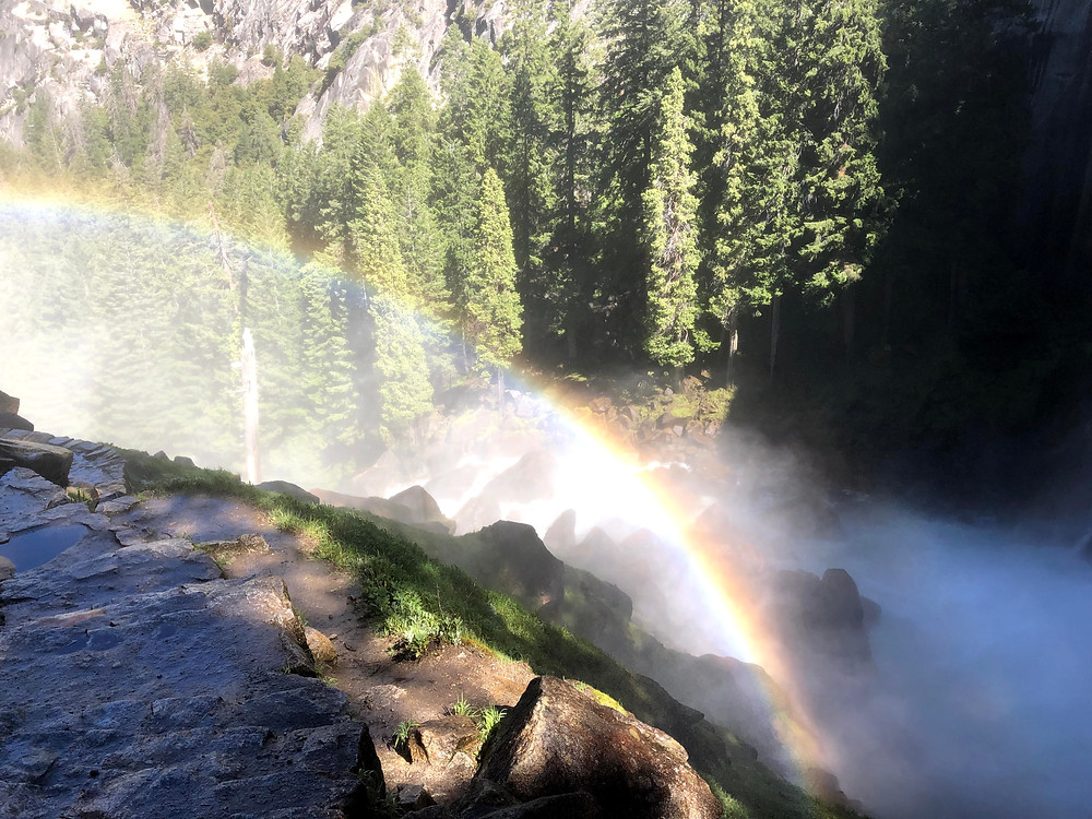 Rainbow at the end of Mist Trail, Yosemite National Park