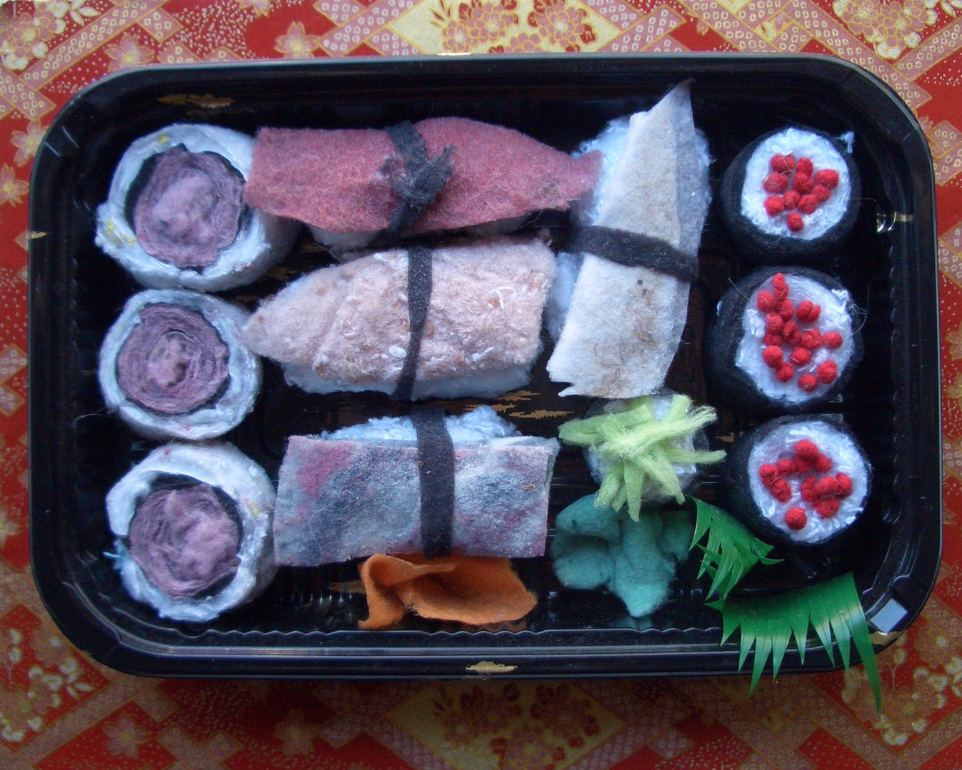 Nine Piece Sushi on Red