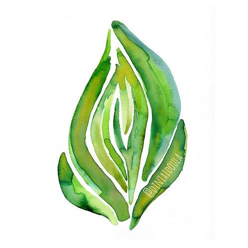 New #3 Earth Watercolor Vulva Print