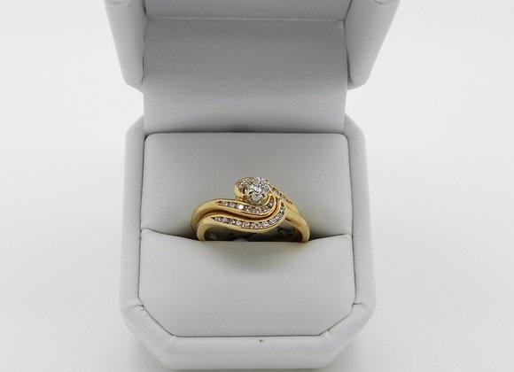 18K Sparkling Diamond Bridal Ring Set