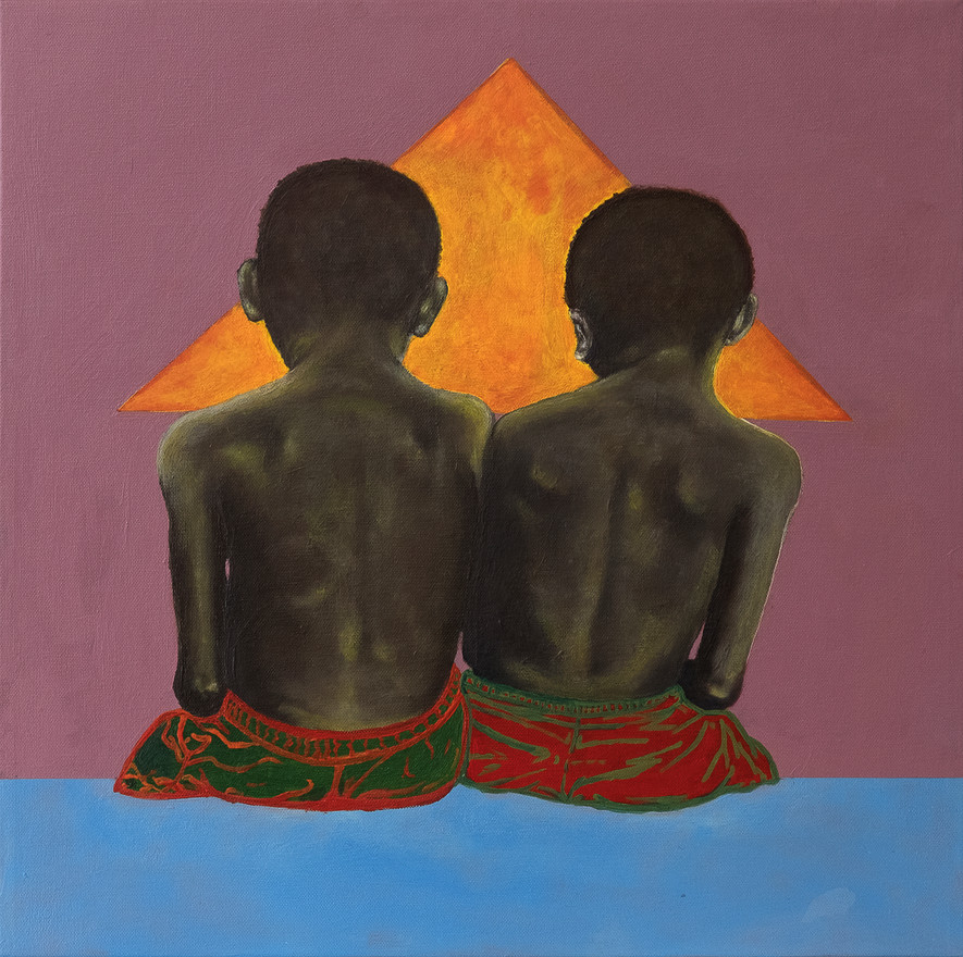 Nyareeta Gach, Divide & Conquer, Acrylic and Oil on Canvas, 18x18in, 2018