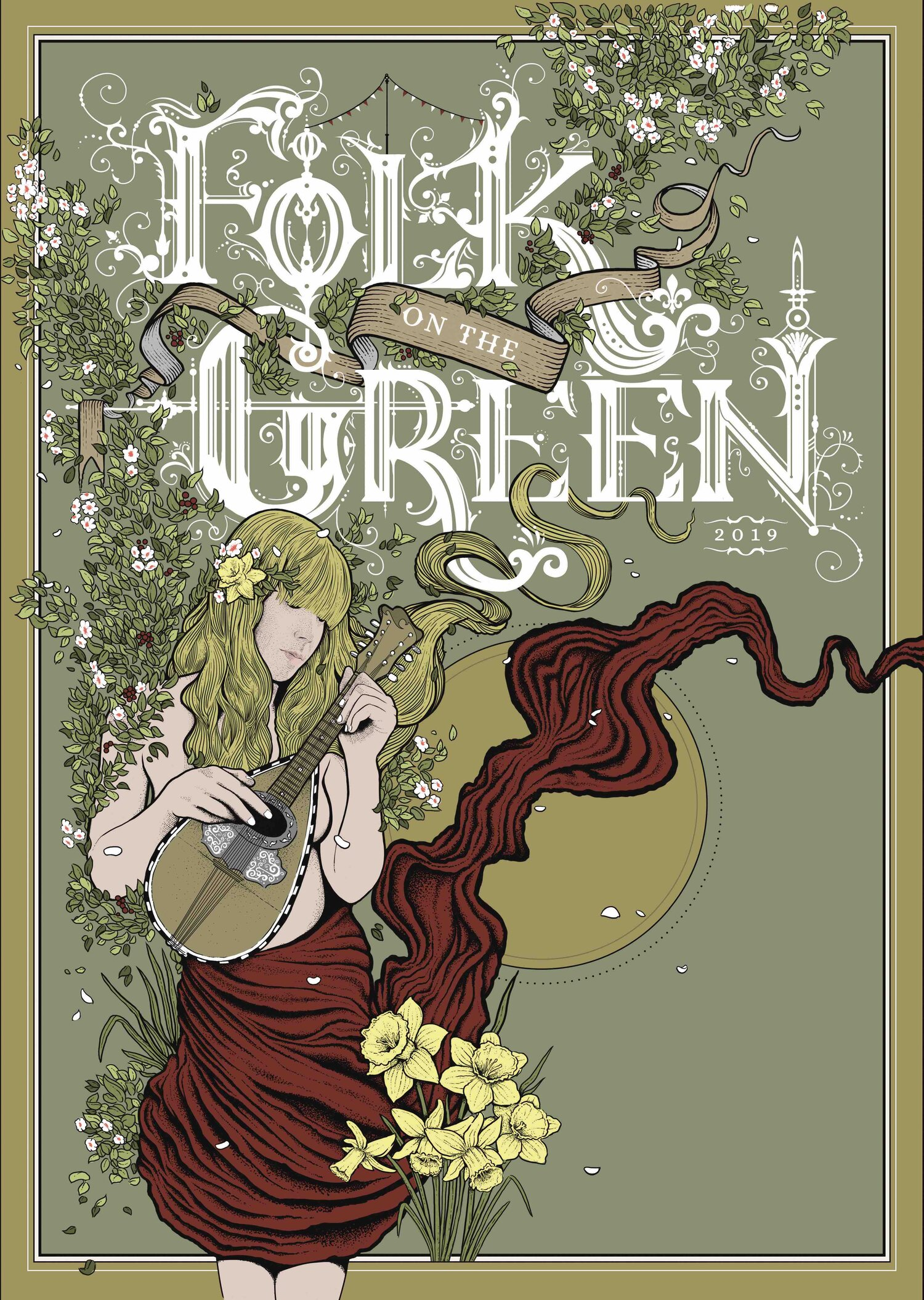 Folk on the green poster illustration