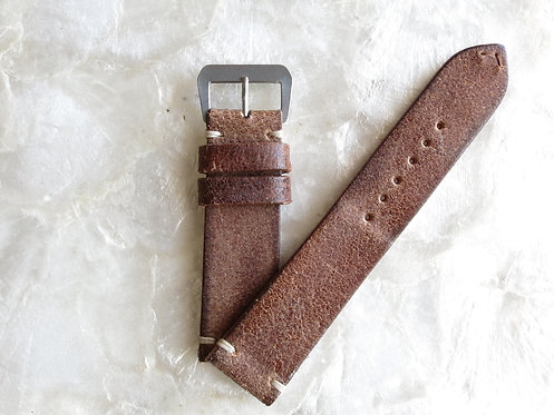 22mm light brown Distressed Leather two piece