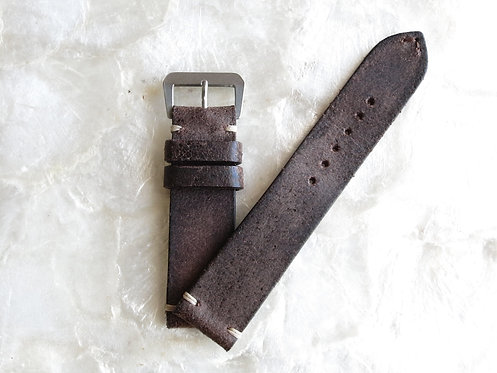 22mm dark brown distressed leather two piece