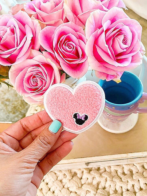 Pink Heart Chenille Patch