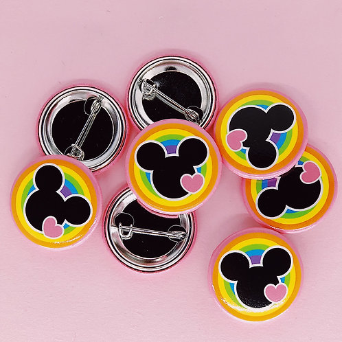 Mouse Head Rainbow Button
