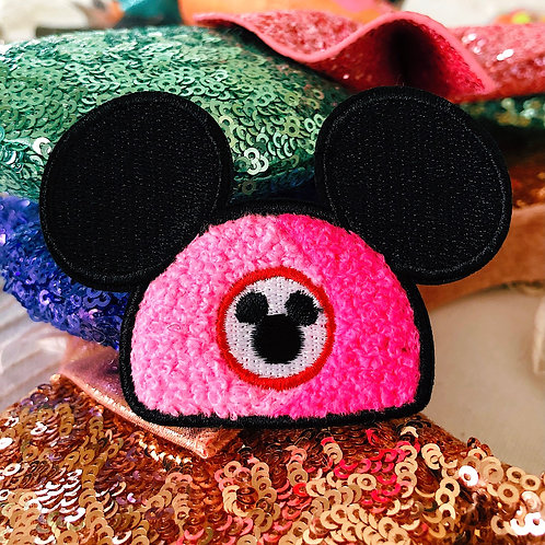 PINK Mouse Hat Chenille Patch