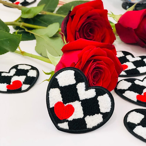 Checkered Heart Chenille Patch