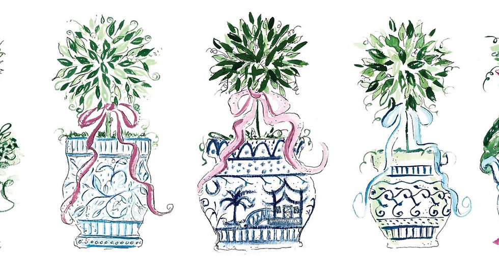 Charming Chinoiserie Topiaries All in a Row large cards