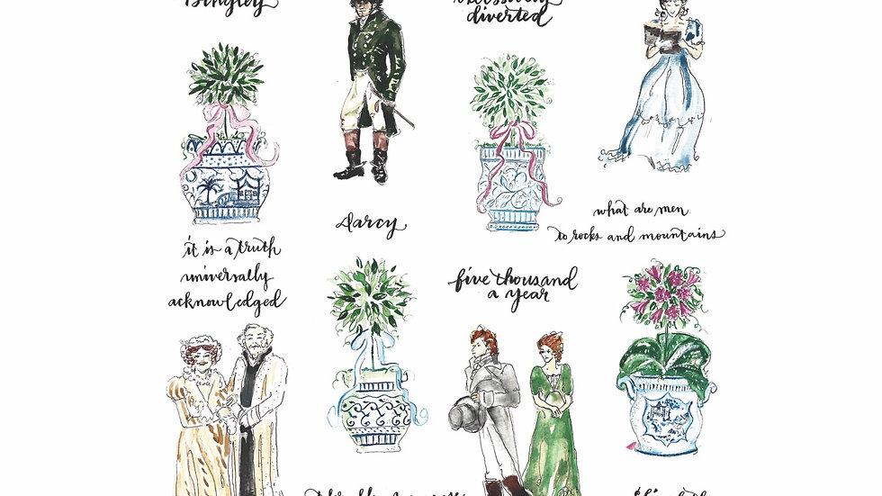 Pride and Prejudice and Topiary print