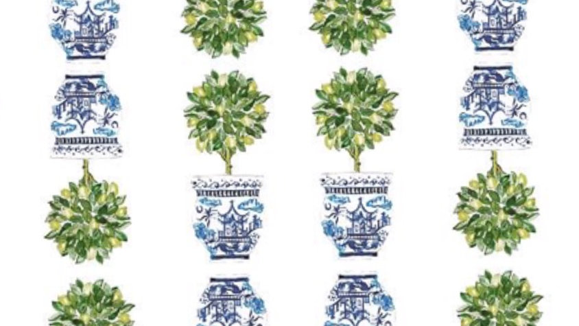 Lemon Tree Chinoiserie Topiary place cards, pack of 25