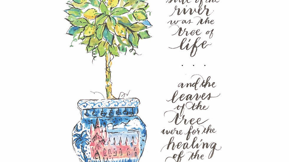 Tree of Life Topiary with First Presbyterian Chinoiserie and Verse