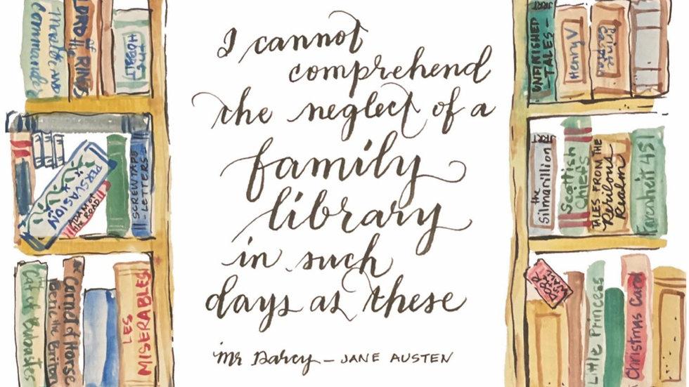 Family Library print Jane Austen quote