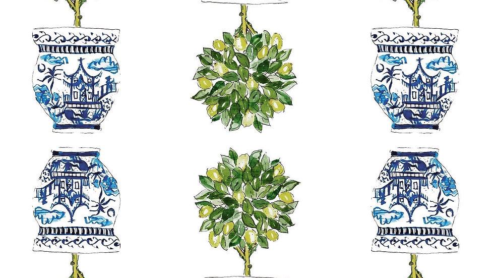 Lemon tree Chinoiserie Topiary card