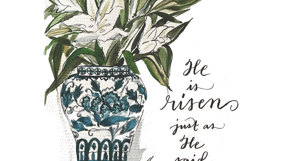 """""""He Is Risen"""" Lilies in Chinoiserie Ginger Jar"""