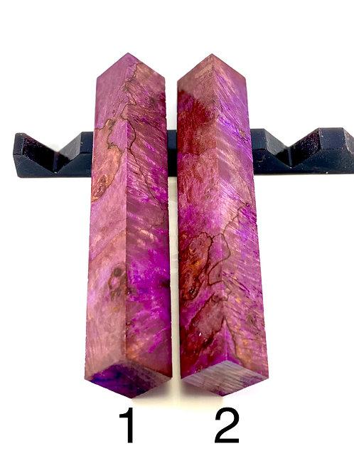 Pen Blank - Purple Dyed Spalted Maple Burl