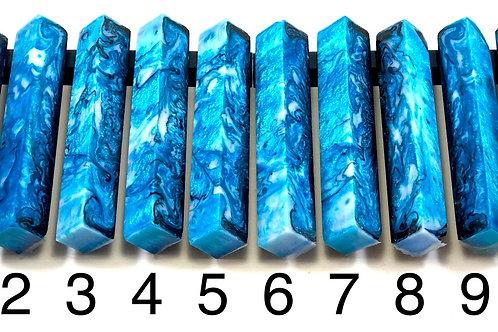 Pen Blank - Alumilite Resin -Blue, Black and White