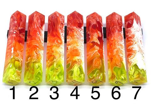 Pen Blank - Liquid Art Resin - 3 Color - Red/Orange/Green with White Swirl