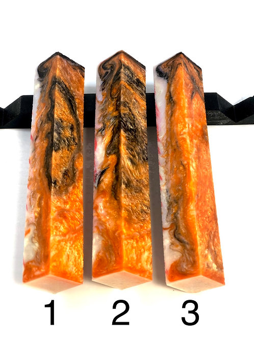 Pen Blank - Alumilite Resin - Black and Orange Interference