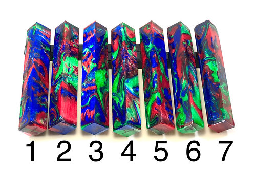 Pen Blank - Alumilite Resin with Blue, Green and Fuchsia Pink