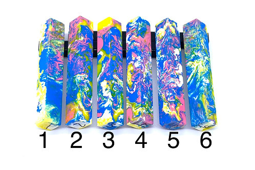 Pen Blank - Alumilite Resin - Blue, Yellow, Pink and White