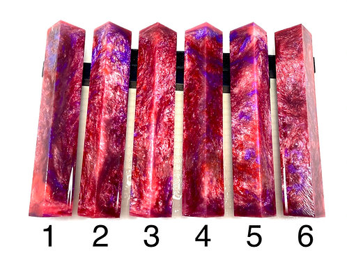Pen Blank - Alumilite Resin - Light Pink, Purple, Sparkle White and Red