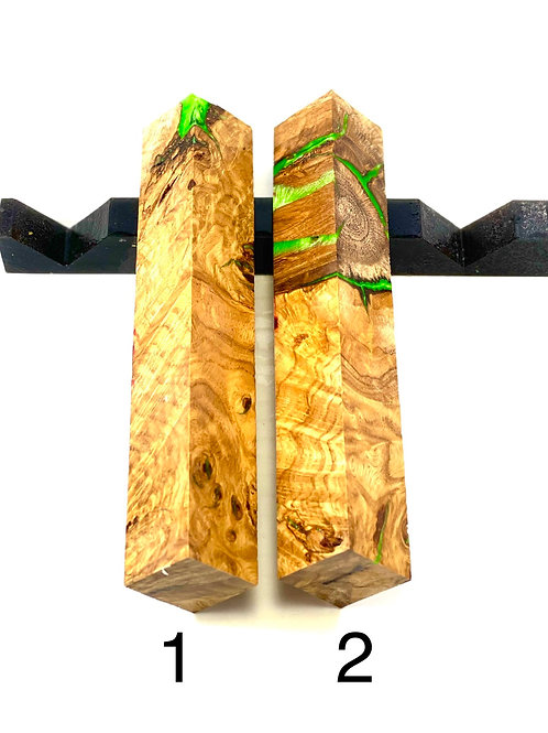 Pen Blank - Natural Oak Burl (Not Stabilized) with Green Resin Filled Inclusions