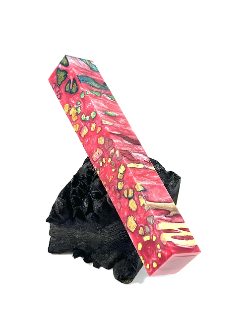 Pen Blank - Multi-dyed Cholla Cross Cut with Pink Resin