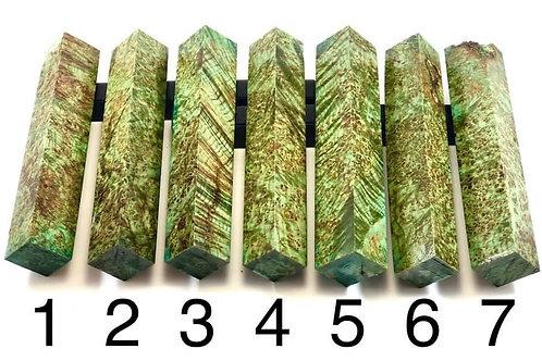 Pen Blank - Green Dyed Black Ash Burl Wood
