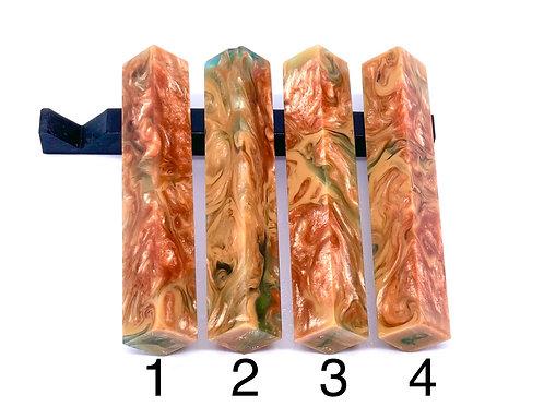 Pen Blank - Alumilite Resin - Rose Gold, Tan and Transparent Teal