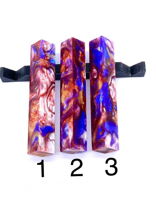 Pen Blank - Alumilite Resin - Copper, Gold Sparkle, Purple and White