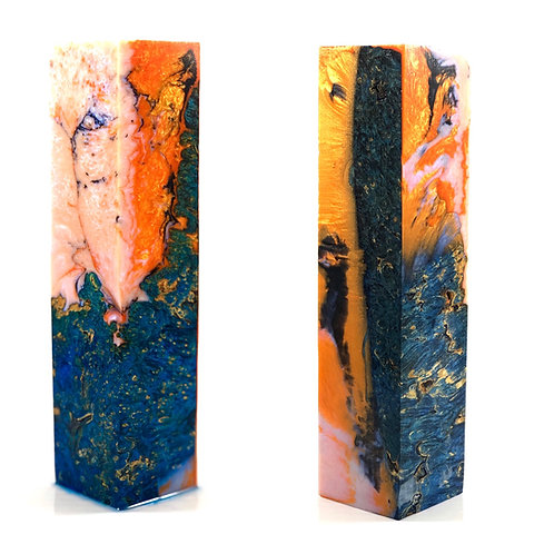 Duck Call - Hybrid Blue Dyed Box Elder Burl Blank with Orange and White Resin