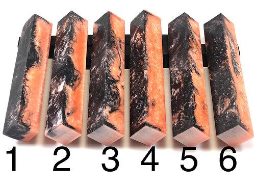 Pen Blanks - Alumilite Resin Coral and Black