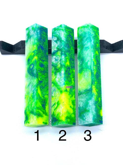 Pen Blank - Alumilite Resin - Neon Yellow, Green, Blue with Sparkle White