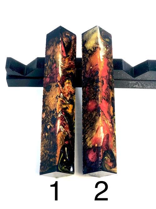 Pen Blank - Alumilite Resin - Black, Red, Orange, Copper and Pearl