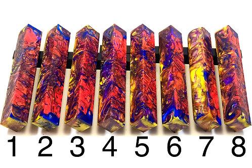 Pen Blank - Alumilite Resin - Orange, Blue, Purple, Yellow