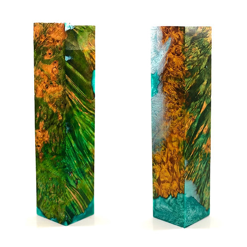 Duck Call - Hybrid Multi-dyed Green and Gold Box Elder Burl w/ Teal Resin