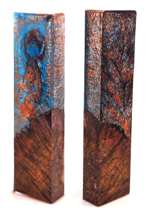 Knife Scale Block - Hybrid Black Burl and Resin