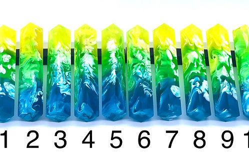 Pen Blank - Liquid Art Resin - 3 Color - Yellow/Green/Blue with White Swirl