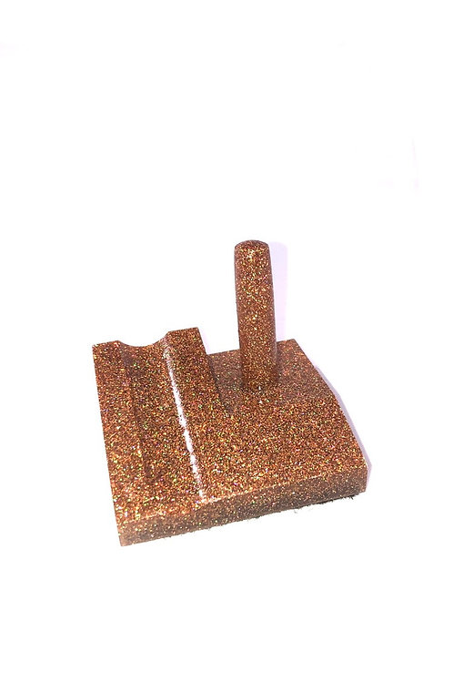 Junior Series Alumilite Resin Pen Stand - Copper with Green/Yellow Sparkle