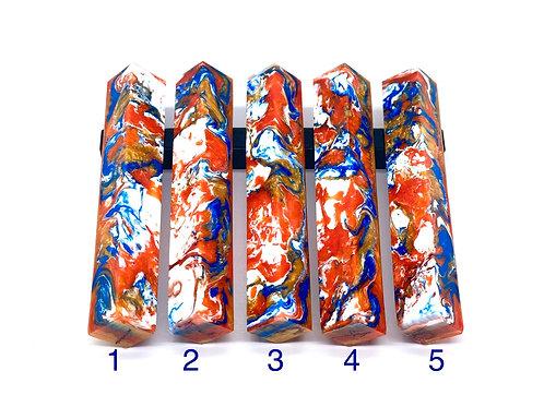 Pen Blank - Alumilite Resin - Blue, Orange, Gold and White