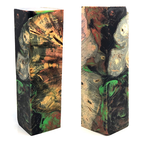Duck Call - Hybrid Multi-Dyed Buckeye Burl with Black, Copper and Green resin.
